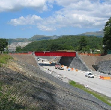 Bat bridge under construction on A487
