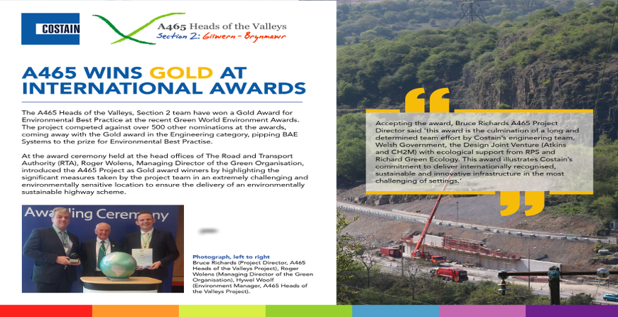 A465 Heads of Valleys Section 2 Improvement wins Gold Green World Award